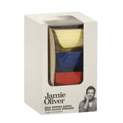 Jamie Oliver Bold Dipping Bowls With Acacia Spreader *DEAL *
