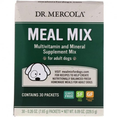 Dr. Mercola Meal Mix Multivitamin and Mineral Supplement Mix for Adult Dogs 30 Packets 0.26 oz (7.65 g) Each