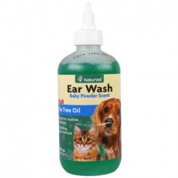 NaturVet Ear Wash Plus Tea Tree Oil Baby Powder Scent 8 fl oz (236 ml)