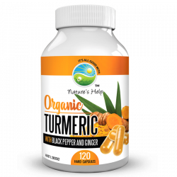 Nature's Help Organic Turmeric Capsules with Black Pepper and Ginger 120 Capsules