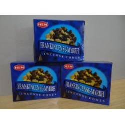 HEM Frankincense - Myrrh Cones - 10 Incense Cones - ( 3 Packets )