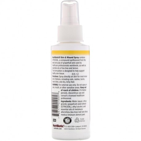 NutriBiotic Skin & Wound Spray with Grapefruit Seed Extract 4 fl oz (118 ml)