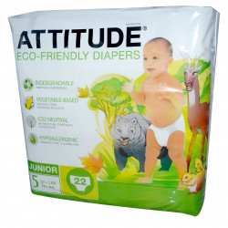ATTITUDE, Eco-Friendly Diapers, Junior, Size 5, 27+ lbs (12+ kg), 22 Diapers
