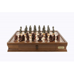 "Dal Rossi Chess Set on a 20"" chess box L Ring Metal Chessmen"