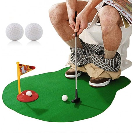 Sky Striker Toilet Toy Potty Putter Putting Golfing Game Indoor Practice Mini Golf Gift Set Golf Training Accessory for Men