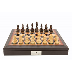 "Dal Rossi 16"" Chess Set Walnut Finish Chess Set w/ PU Leather with compartments and Boxwood and Sheesham 85mm Chess Pieces"