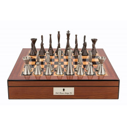 """Dal Rossi Chess set Staunton Metal Walnut Finish Chess Box 16"""" with compartments"""