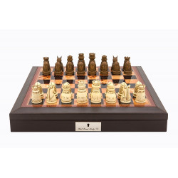 """Dal Rossi Italy Brown PU Leather Bevilled Edge chess box with compartments 18"""" with Medieval Resin Chessmen"""