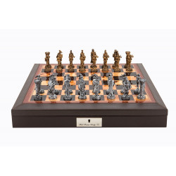 """Dal Rossi Italy Brown PU Leather Bevilled Edge chess box with compartments 18"""" with Medieval Pewter GA Chessmen"""
