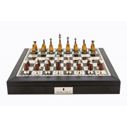 """Dal Rossi Italy Black PU Leather Bevilled Edge chess box with compartments 18"""" with Staunton Metal/Wood Chessmen"""