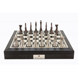 """Dal Rossi Italy Black PU Leather Bevilled Edge chess box with compartments 18"""" with Staunton Metal Chessmen"""