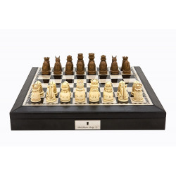 "Dal Rossi Italy Black PU Leather Bevilled Edge chess box with compartments 18"" with Medieval Resin Chessmen"