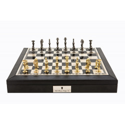 "Dal Rossi Italy Black PU Leather Bevilled Edge chess box with compartments 18"" with Sleek Design Brass Chessmen"