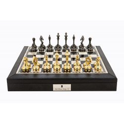 "Dal Rossi Italy Black PU Leather Bevelled Edge chess box with compartments 18"" with Staunton Brass Titanium Cap Chessmen"