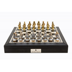 "Dal Rossi Italy Black PU Leather Bevelled Edge chess box with compartments 18"" with Medieval Warriors Resin Chessmen"