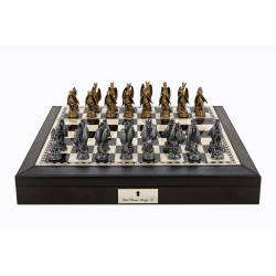 "Dal Rossi Italy Black PU Leather Bevelled Edge chess box with compartments 18"" with Dragon Pewter Chessmen"