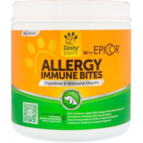 Zesty Paws Aller-Immune Bites for Dogs Immune System All Ages Lamb Flavor 90 Soft Chews 12.7 oz (360 g)