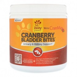 Zesty Paws Cranberry Bladder Bites for Dogs Antioxidant All Ages Chicken Flavor 90 Soft Chews 12.7 oz (360 g)