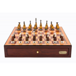 "Dal Rossi Italy Red Mahogany Finish chess box with compartments 18"" with Staunton Metal/Wood Chessmen"
