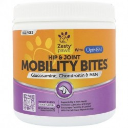 Zesty Paws Mobility Bites for Dogs Hip and Joint All Ages Duck Flavor 90 Soft Chews 12.7 oz (360 g)