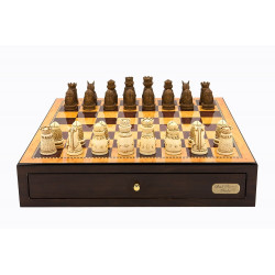 "Dal Rossi Italy Walnut Finish chess box with compartments 18"" with Medieval Resin Chessmen"