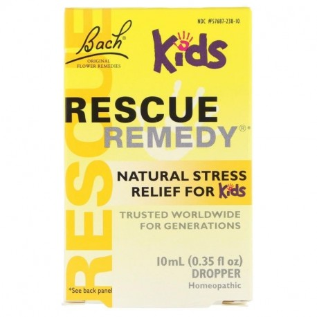 Bach Original Flower Remedies Rescue Remedy Natural Stress Relief for Kids Dropper Alcohol-Free Formula 0.35 fl oz (10 ml)