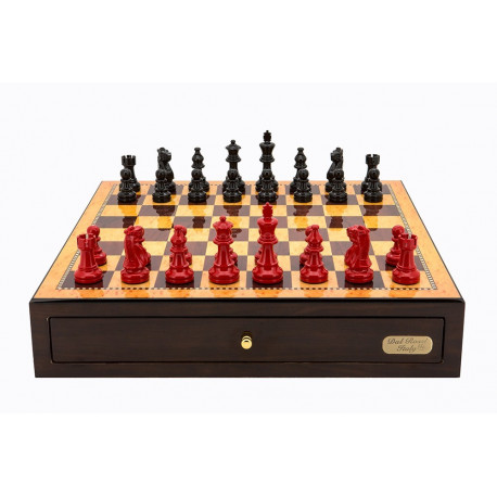 "Dal Rossi Italy Walnut Finish chess box with compartments 18"" with French Lardy Black/Red 85mm Chessmen"