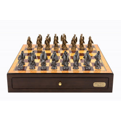 """Dal Rossi Italy Walnut Finish chess box with compartments 18"""" with Dragon Pewter Chessmen"""