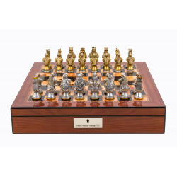 "Dal Rossi Italy Walnut Finish chess box with lock & compartments 16"" with Medieval Warriors Resin Chessmen"