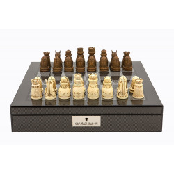 "Dal Rossi Italy Carbon Fibre Shiny Finish chess box with compartments 16"" with Medieval Resin Chessmen"