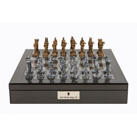 """Dal Rossi Italy Carbon Fibre Shiny Finish chess box with compartments 16"""" with Medieval Pewter Chessmen"""