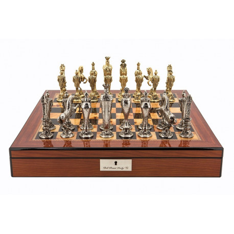 """Dal Rossi Italy Renaissance Chess Set on Walnut Finish Chess Box 20"""" with compartments"""