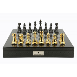 "Dal Rossi Italy Gold / Titanium Chess Set on Carbon Fibre Shiny Finish Chess Box 20"" with compartments"
