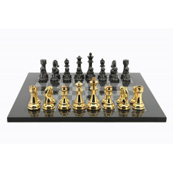 Dal Rossi Italy Gold / Titanium Chess Set on Carbon Fibre Finish Chess Board 50cm