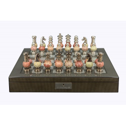"Dal Rossi Italy Chess Set on a 20"" Board & Box with Coloured Stone and Metal , Silver Chessmen"