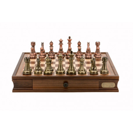 """Dal Rossi Italy Chess Set 20"""", With Bronze & Copper Weighted Chess Pieces 101mm pieces"""