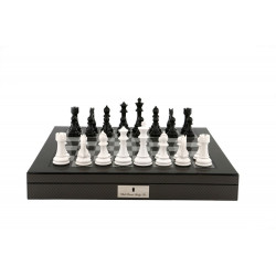 """Dal Rossi Italy Black/White Chess Set on Carbon Fibre Shiny Finish Chess Box 20"""" with compartments"""