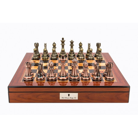 "Dal Rossi Italy Copper / Bronze Chess Set on Walnut Shiny Finish Chess Box 20"" with compartments"