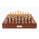 """Dal Rossi Italy Staunton Wooden 95mm Chess Pieces on Walnut Shiny Finish Chess Box 20"""" with compartments"""