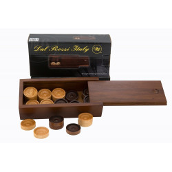 Checkers/draughts, Backgammon Pieces in a wooden box, 28mm