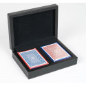 Dal Rossi card box Black PU Leather with 2 packs of Playing cards
