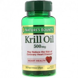 Nature's Bounty Krill Oil 500 mg 30 Rapid Release Softgels
