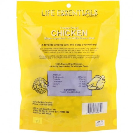 Cat-Man-Doo Life Essentials Freeze Dried Chicken For Cats & Dogs 5 oz (142 g)