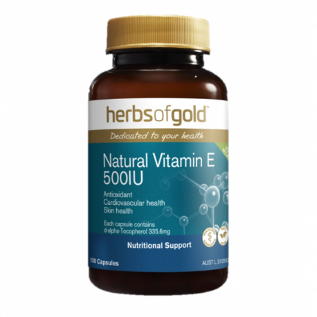 Herbs of Gold Vitamin E 500IU Natural 50 Capsules