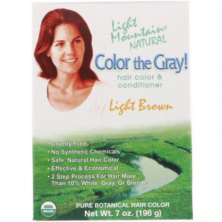 Light Mountain Color the Gray! Natural Hair Color & Conditioner Light Brown 7 oz (198 g)