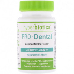 Hyperbiotics PRO-Dental Natural Mint Flavor 45 Patented LiveBac Chewable Tablets