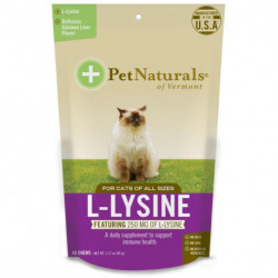 Pet Naturals of Vermont L-Lysine For Cats Chicken Liver Flavor 250 mg 60 Chews 3.17 oz (90 g)