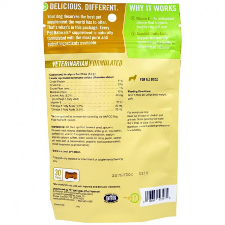 Pet Naturals of Vermont, Skin + Coat, For Dogs, 30 Chews, 2.12 oz (60g)