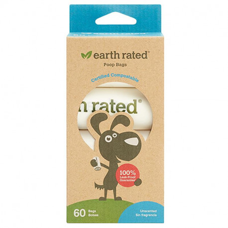 Earth Rated, Compostable Dog Bags, Unscented, 60 Bags, 4 Refill Rolls
