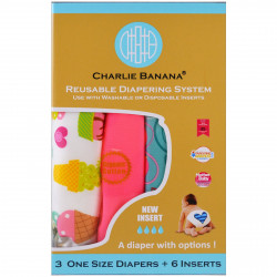 Charlie Banana, Reusable Diapering System, One Size Diapers, Girl, 3 Diapers + 6 Inserts